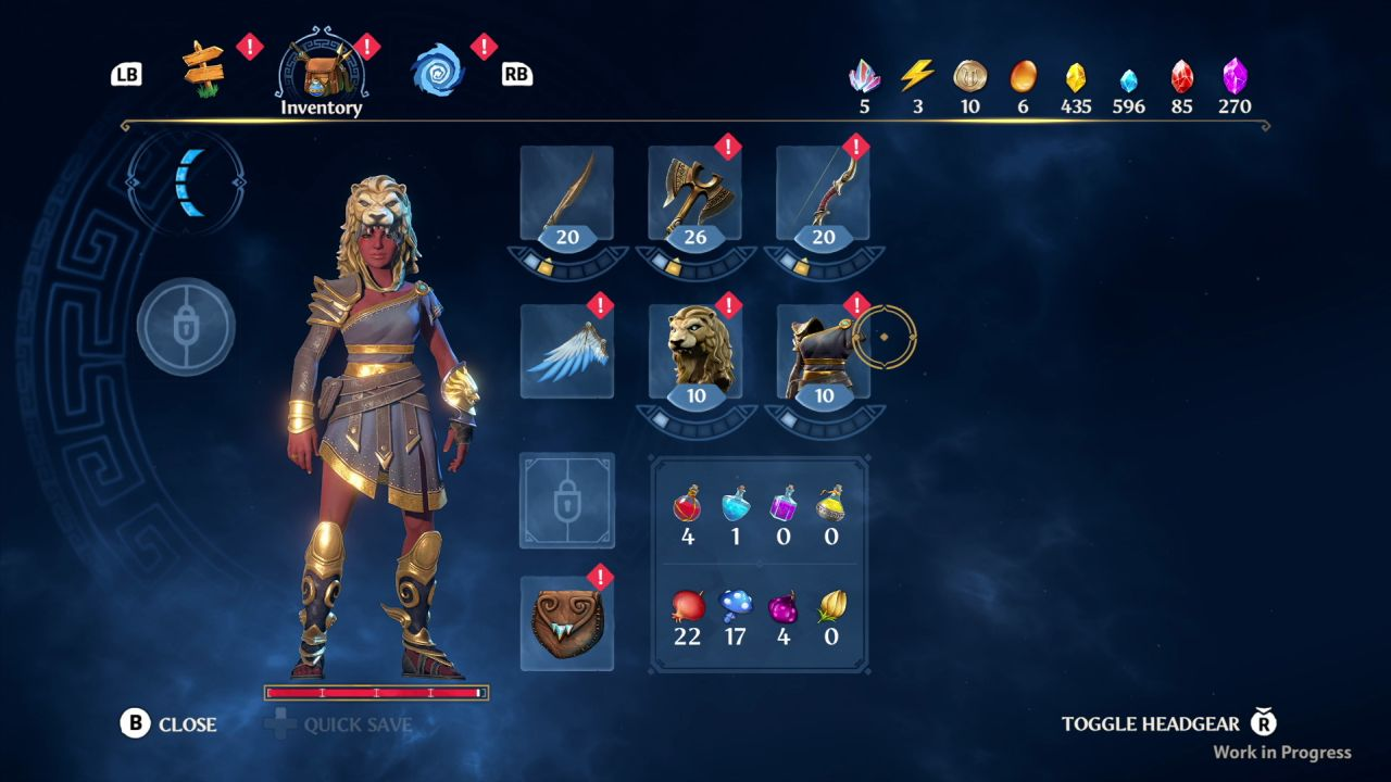 A screenshot showing the inventory menu from Immortals Fenyx Rising. There are slots for different weapon types (sword, axe and bow) as well as the for armour and helmet.