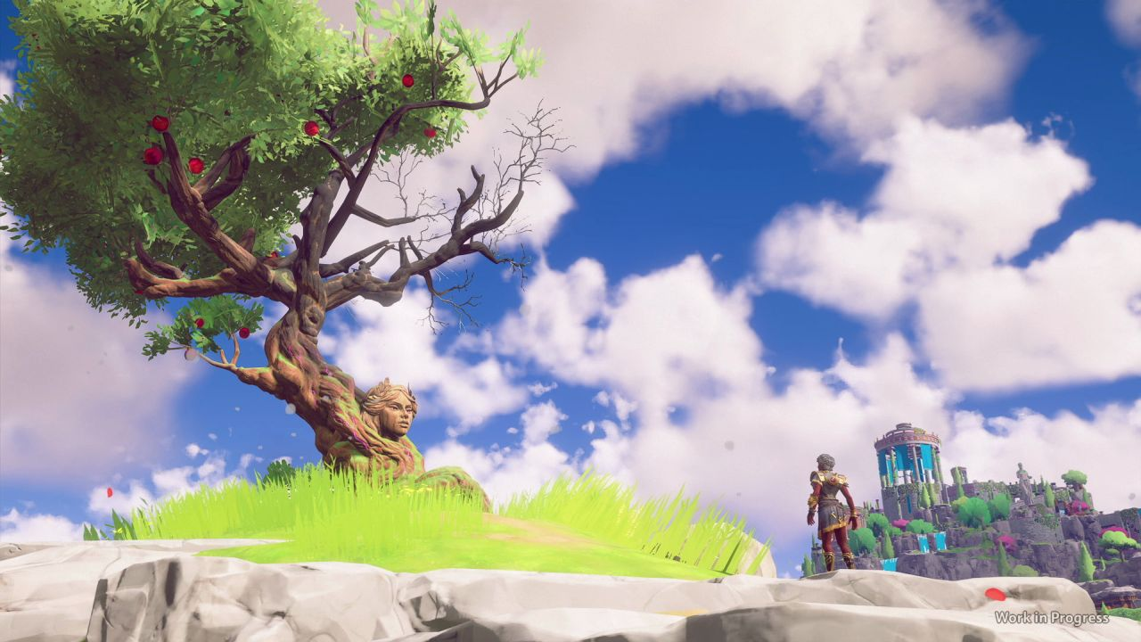 A wide view screenshot of Immortals Fenyx Rising showing the player character Fenyx talking to a tall, knotted apple tree. There is a beautiful woman's face sticking out of it - kind of like the granny willow tree in Pocahontas, but sexy. Sexier, I mean.