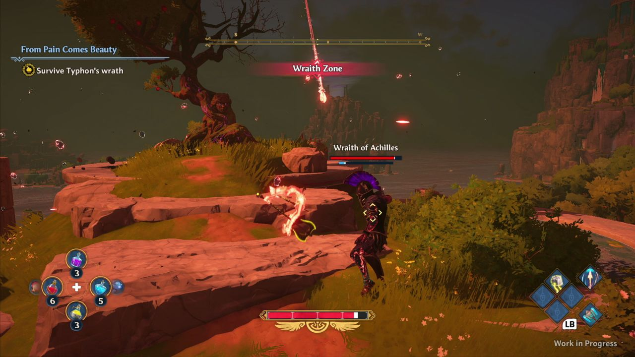 A screenshot from Immortals Fenyx Rising showing the player in battle with the Wraith of Achilles, a dark, shadowy figure twice as tall as they are.