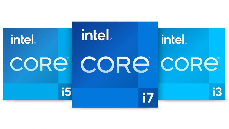 Gambar yang menunjukkan logo Generasi ke-11 untuk CPU Intel Core i3, Core i5, dan Core i7.