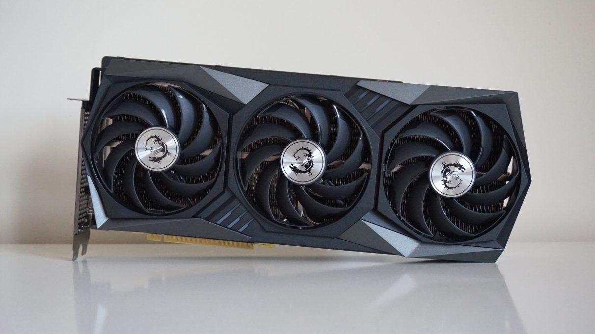 A photo of the MSI GeForce RTX 3080 Gaming X Trio graphics card.