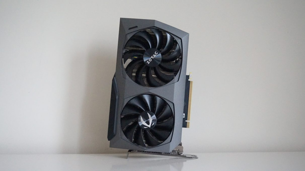 A photo of Zotac's GeForce RTX 3070 Twin Edge GPU.