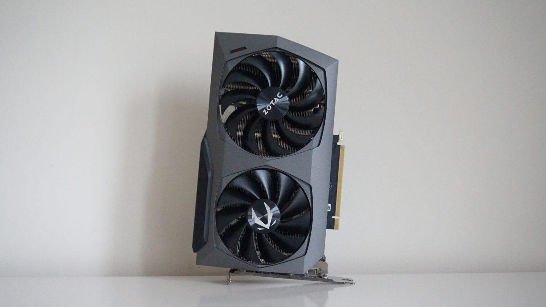 A photo of Zotac's GeForce RTX 3070 Twin Edge GPU.