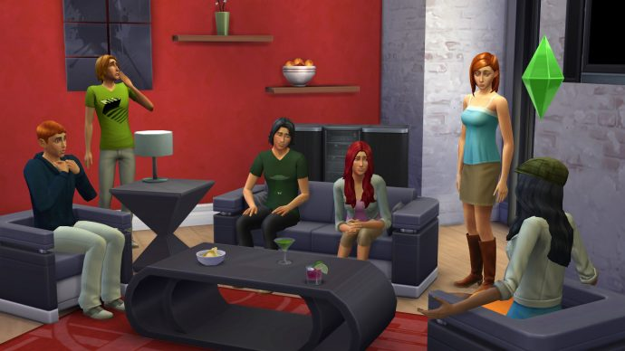 A group of Sims hanging out in The Sims 4