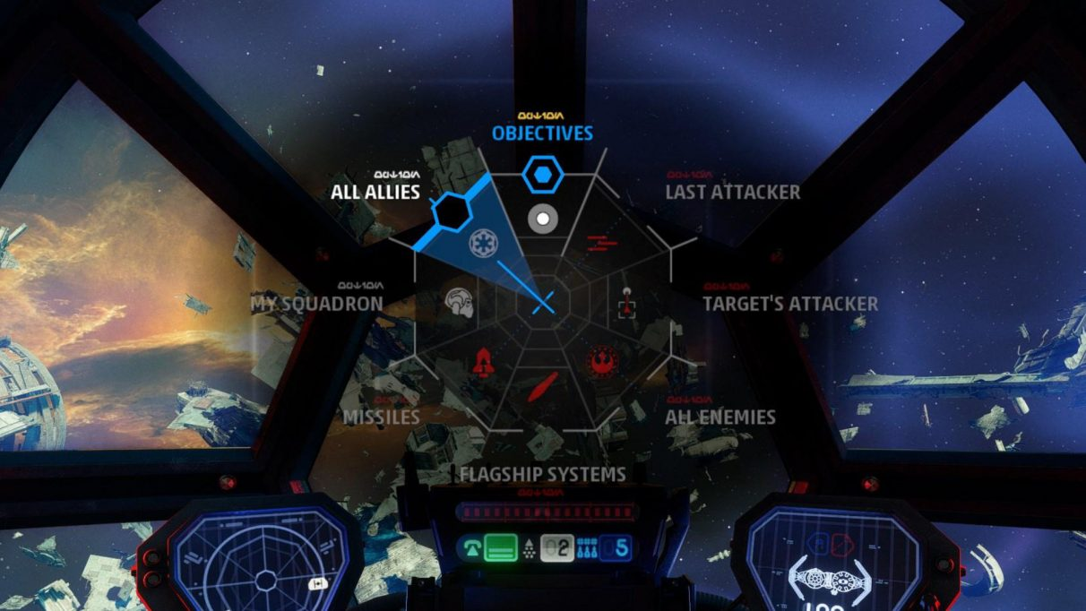 You can bring up the Targeting Wheel to filter out your targets, giving you much greater awareness of your surroundings.