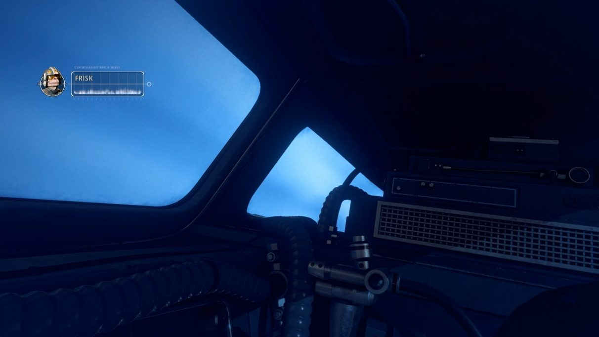 Looking into the empty sear seat of a clunkily designed cockpit, as lovely blue hyperspace goes by outside.