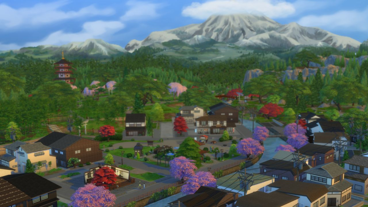A screenshot of Mt. Komorebi in the distance, while in the foreground we see the older neighbourhood of Senbamachi