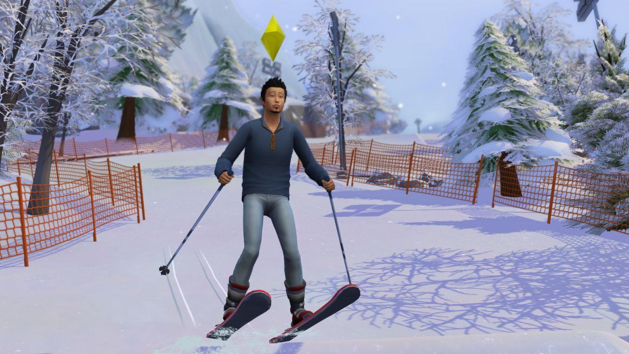 A screenshot of Glen pulling a sick ski jump in Snowy Escape