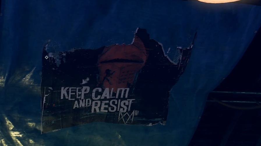 "A poster on a grotty wall, with ""keep calm and resist"" written on it in an edgy font."