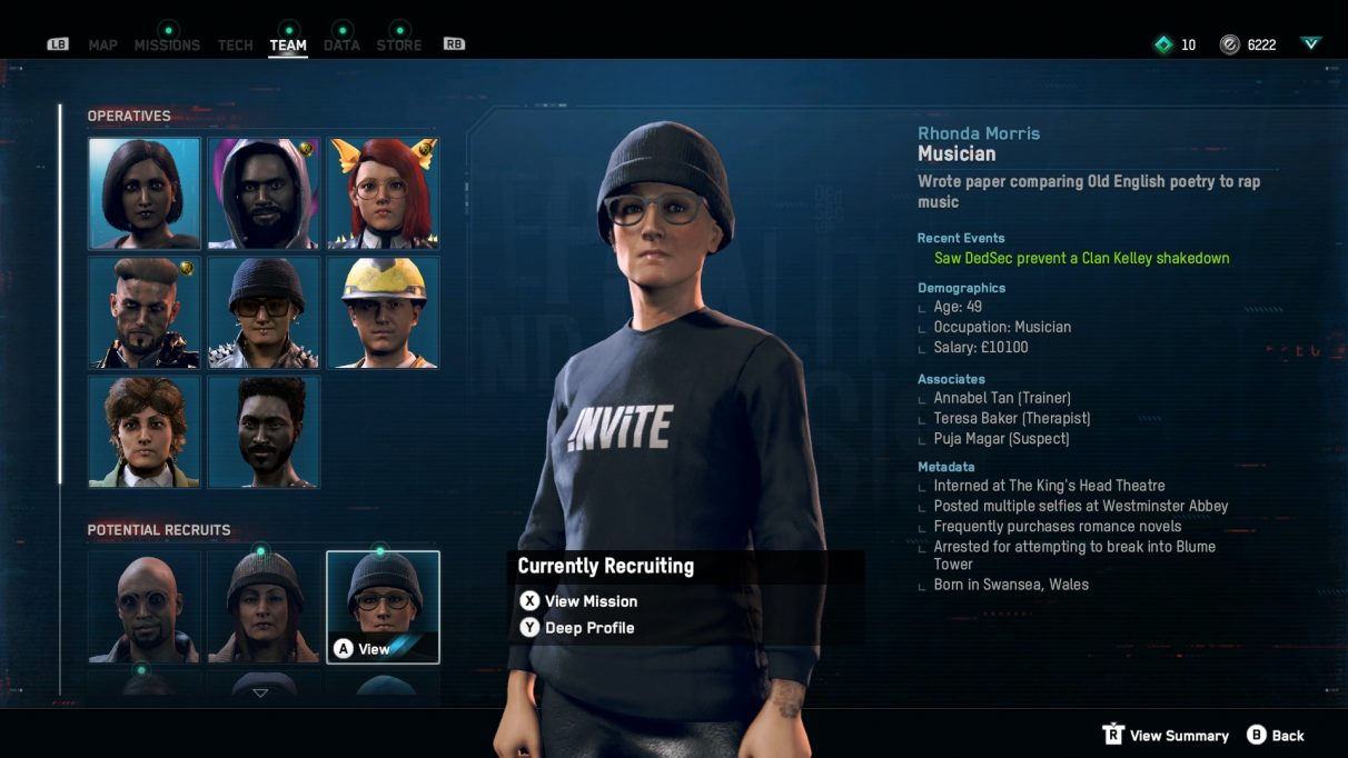 "A character bio screen displaying a middle aged woman wearing a beanie and a long-sleeved shirt with a logo reading ""INVITE"". To her right, her history, interests, and recent activity are displayed in a list"