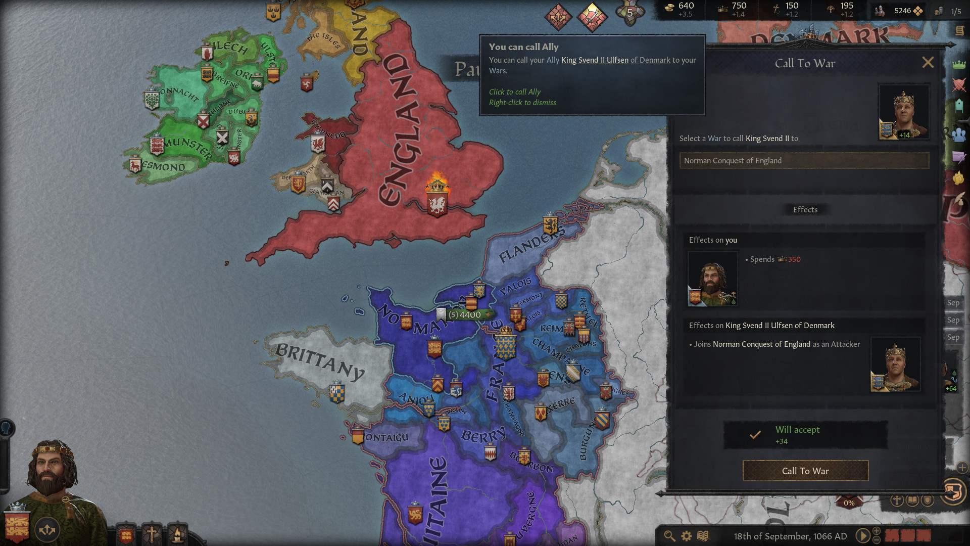 A Crusader Kings 3 screenshot showing an Ally alert