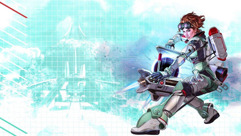 Key art of Apex character Horizon holding her black hole creating technology.