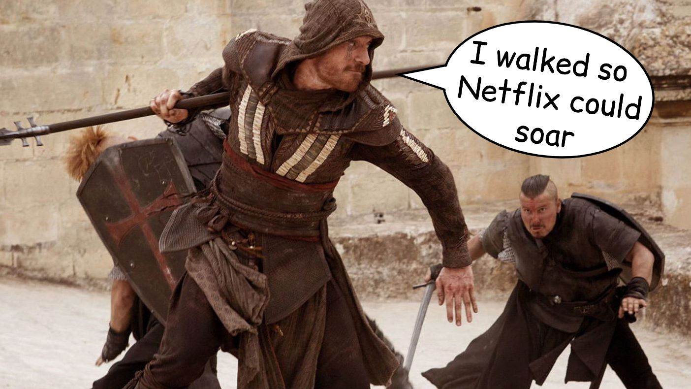 A still from the Assassin's Creed movie where Aguilar the assassin is fighting a couple of baddies. I have added a speech bubble so he is saying 'I walked so Netflix could soar'