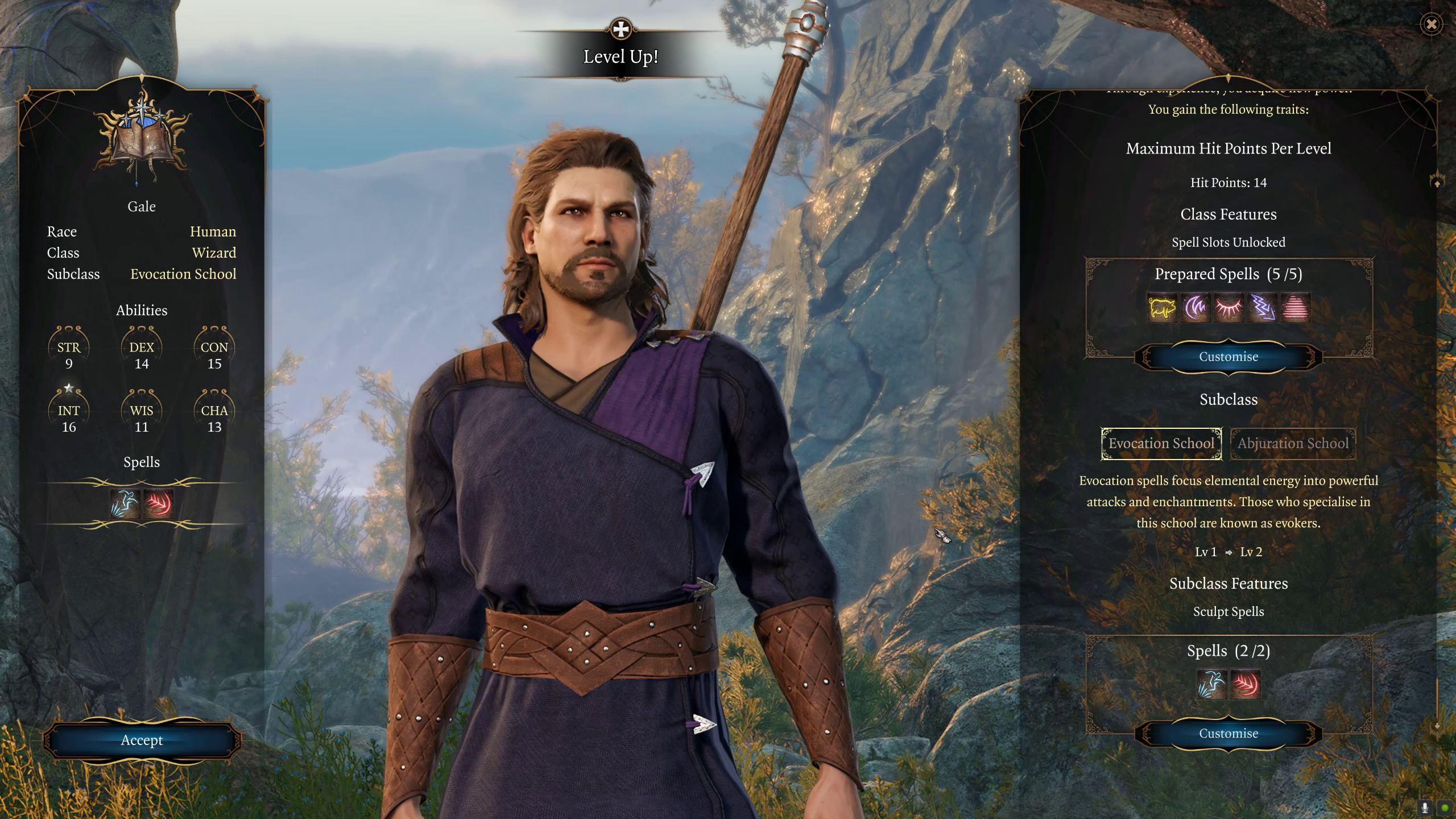 A screenshot of Gale the wizard from Baldur's Gate 3. He is a white human male around 30, with standard wizard-issue shoulder length brown hair and a goatee. He has a blue tunic, belted at the waist with a brown leather belt, and has a staff across his back.
