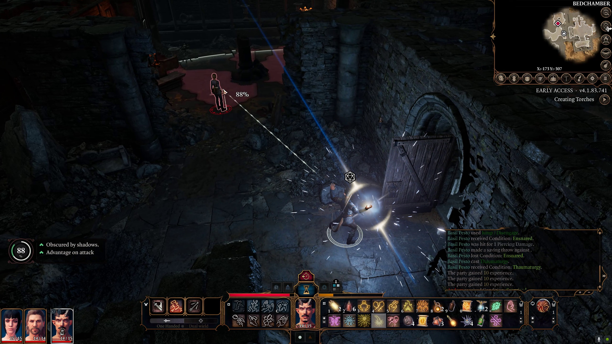 A screenshot from Baldur's Gate 3 showing a character in an underground stone dungeon, casting a spell whilst sneaking at an unsuspecting guard