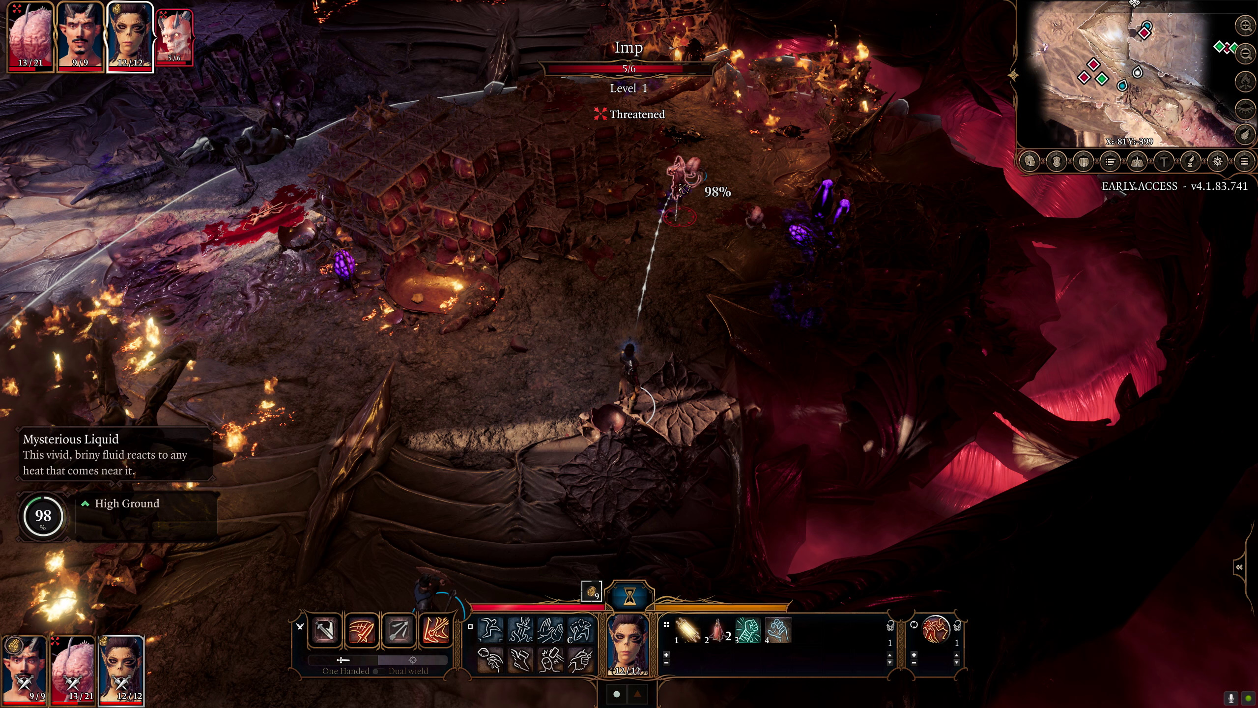 A screenshot of a fight from the early stage of the act. The camera is zoomed out to an isometric view point. The fight is taking place in an underground room, with many small cages stacked in the middle. Laezel the githyanki character is aiming a ranged attack at an imp.