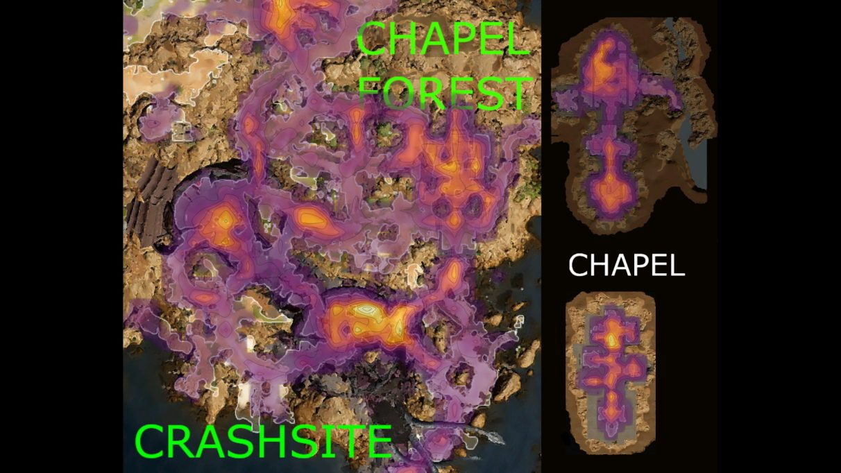 A heatmap showing some areas where lots of Baldur's Gate 3 players die.