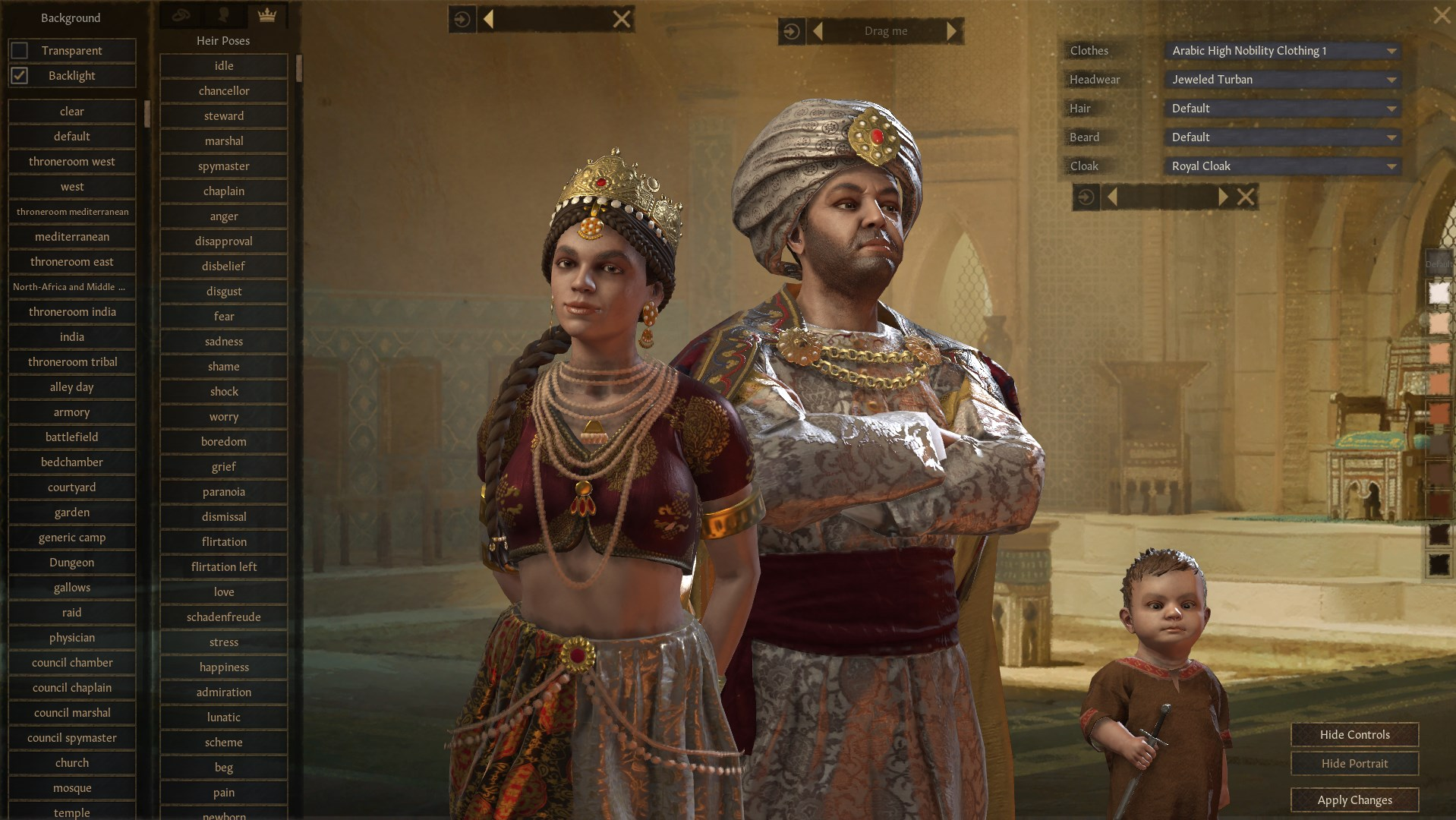 A Crusader Kings 3 screenshot showing a family posing for a screenshot. The new menu has selections for poses and the artworks background