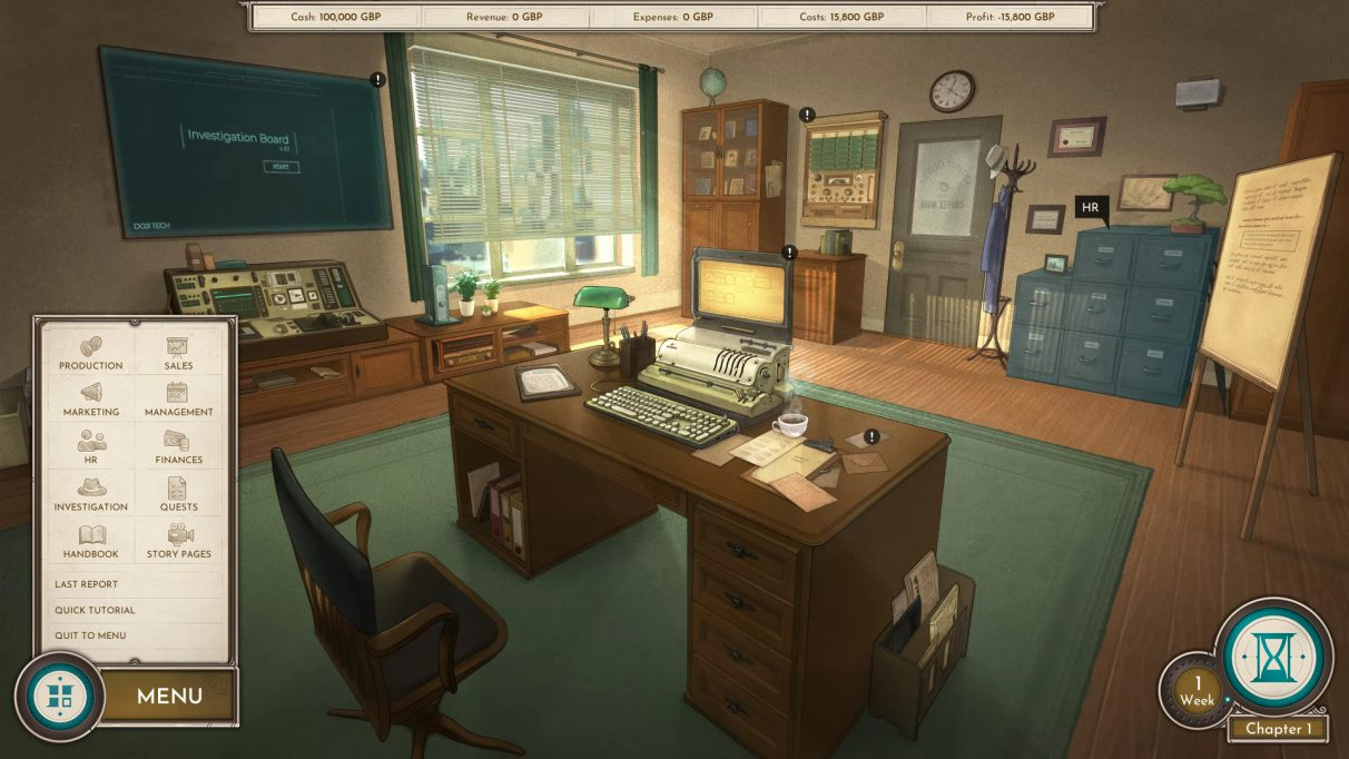 A screenshot of the office in Coffee Noir, featuring a desk with neo-retro computer filing cabinets for staff management, a display of timecards for shift management, and a big notice board for your not-so-secret investigation