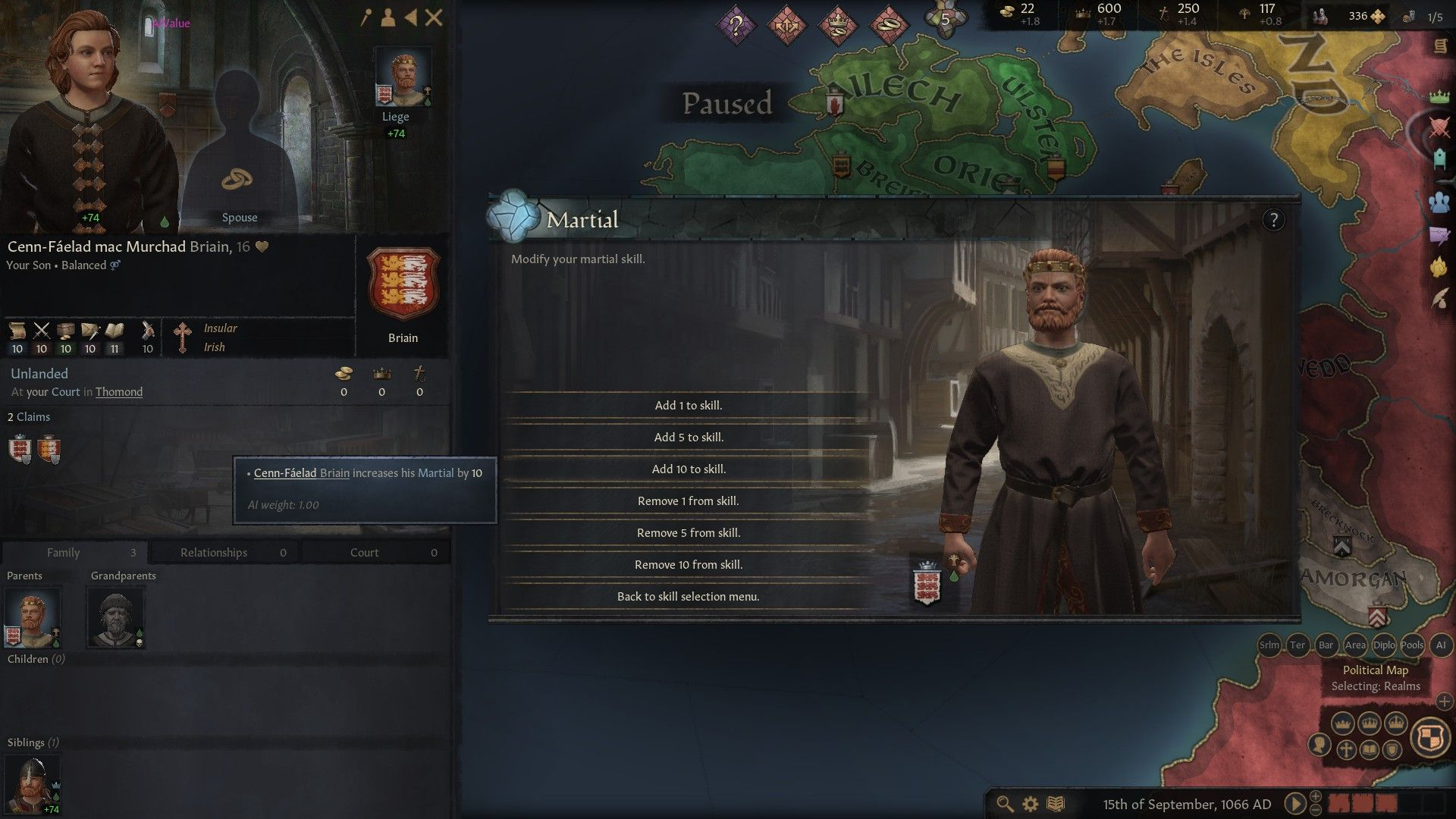 A Crusader Kings 3 screenshot, showing a newly created character and a menu