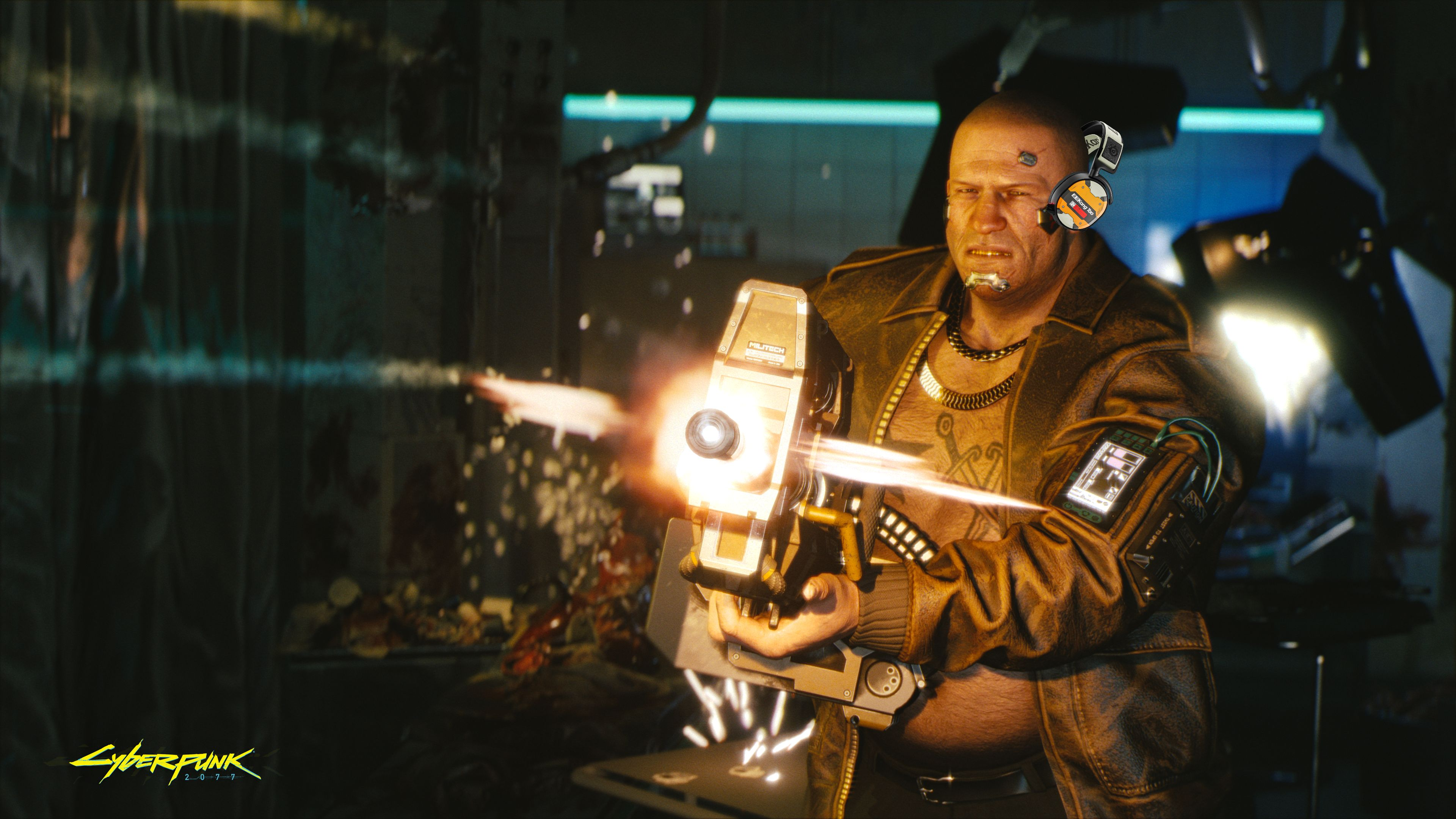 A screenshot of a big, very angry man from Cyberpunk 2077 firing a very big gun. He is wearing an Arctis 1 headset but it clearly doesn't even fit on his head properly, he's only got one ear in.