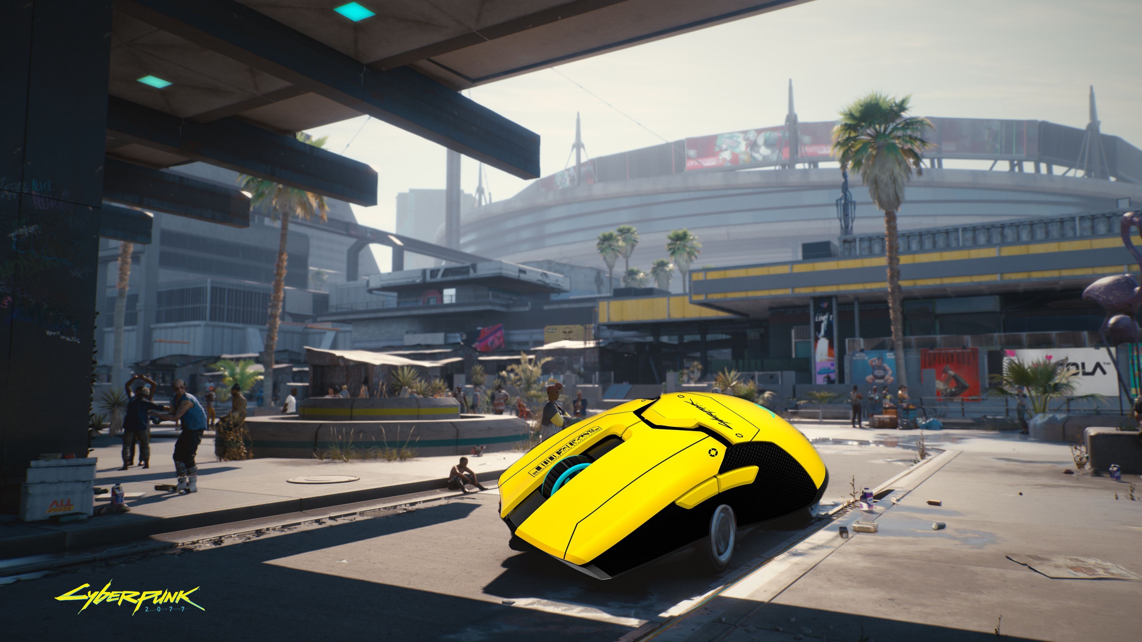 A screenshot of a car on the street in Cyberpunk 2077, except it is actually a giant Razer Viper Cyberpunk 2077 mouse