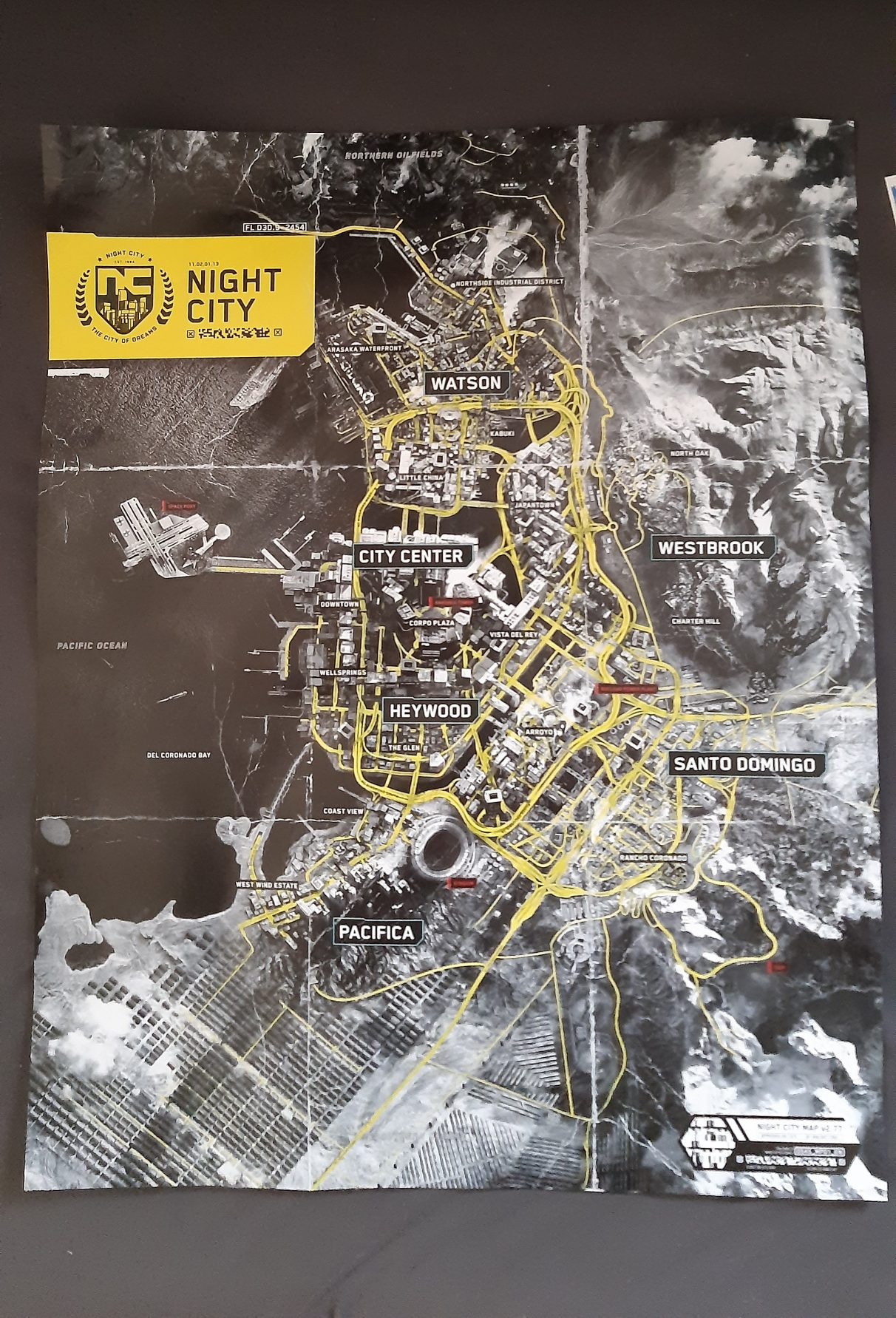 Here is a leaked map of Cyberpunk 2077's Night City. Each of the major city districts are highlighted, alongside numerous smaller points of interest.