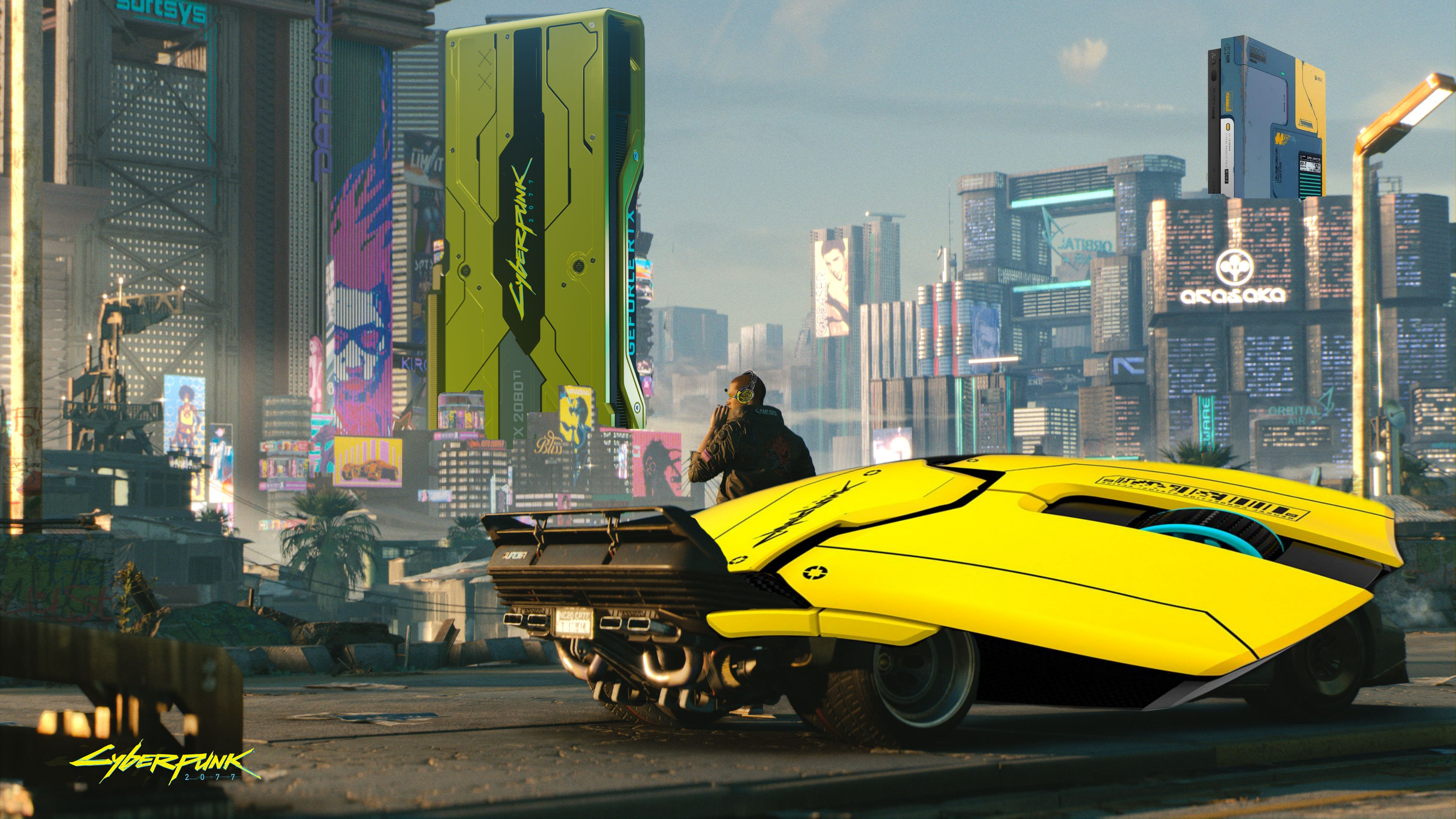 A screenshot of V from Cyberpunk 2077 leaning on a cool car and looking at the Night City skyline, except the car has been replaced with a Cyberpunk 2077 Razer Viper mouse
