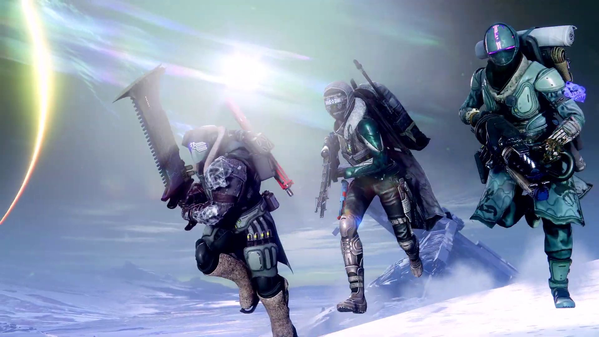 A frame from a Destiny 2: Beyond Light trailer showing the new Exotic gear.