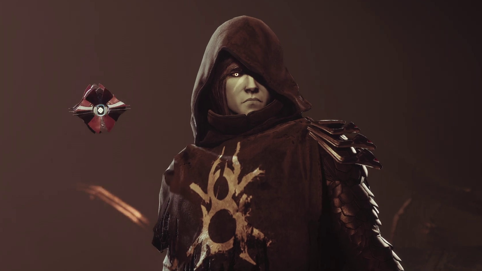 A Destiny 2 cinematic still showing Crow, the Guardian raised from Uldren Sov, and his Ghost.