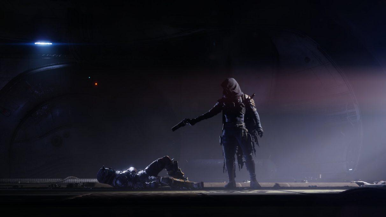 Uldren Sov shooting Cayde-6 in a Destiny 2: Forsaken cutscene.
