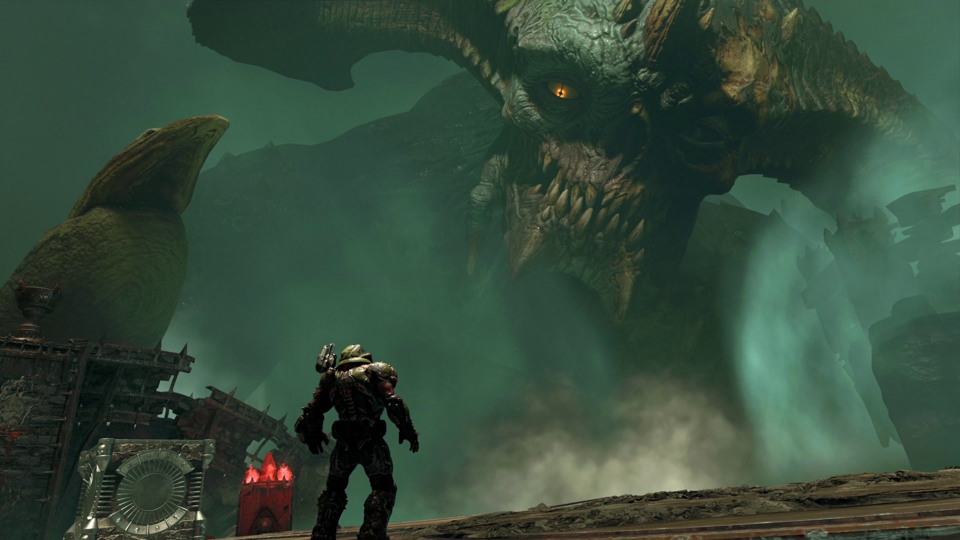A giant horny lad dwarfs Doomguy in a Doom Eternal: The Ancient Gods picture.
