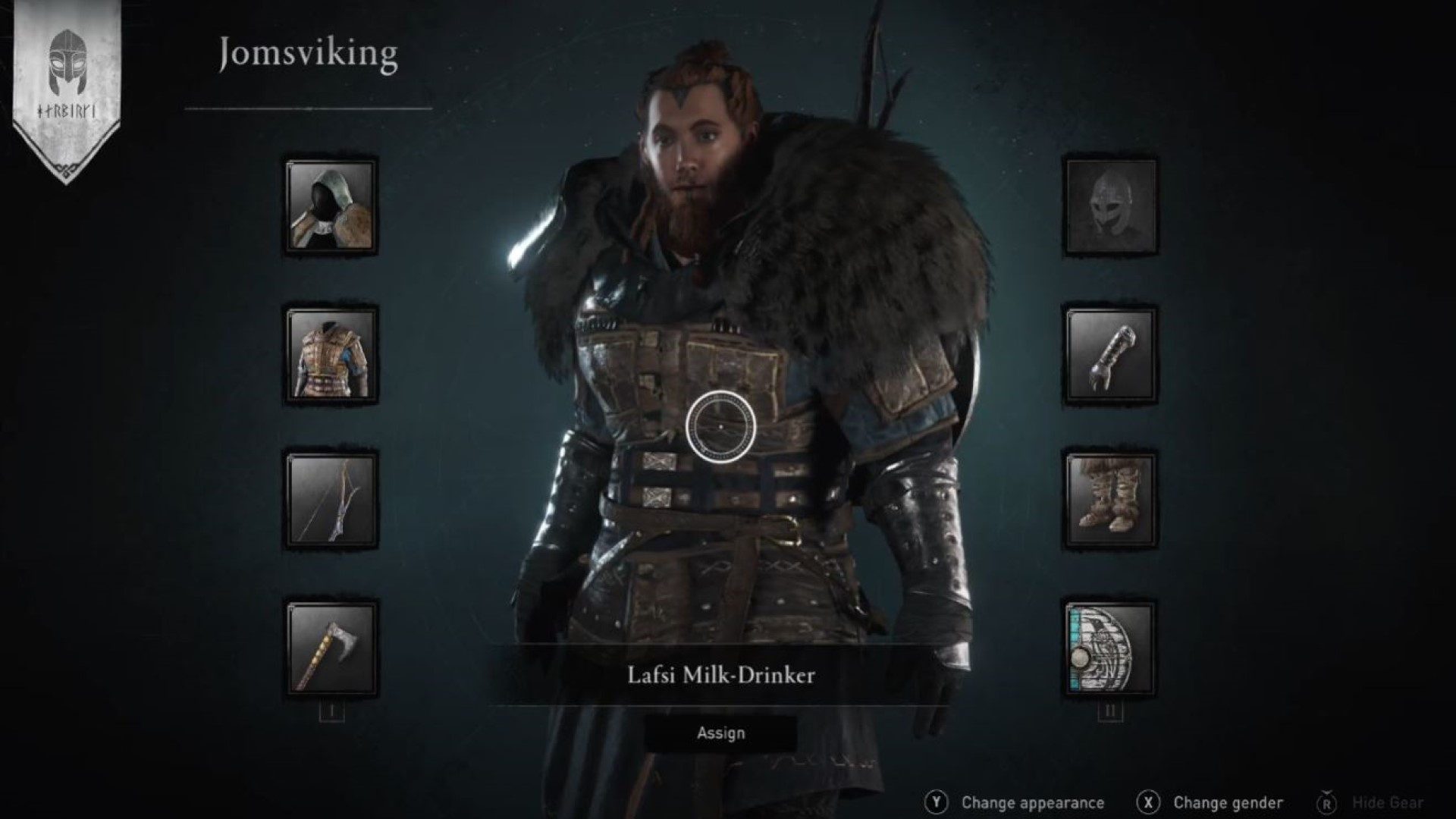 A look at the character creator in the Barracks. Here's big lad Lafsi Milk-Drinker.