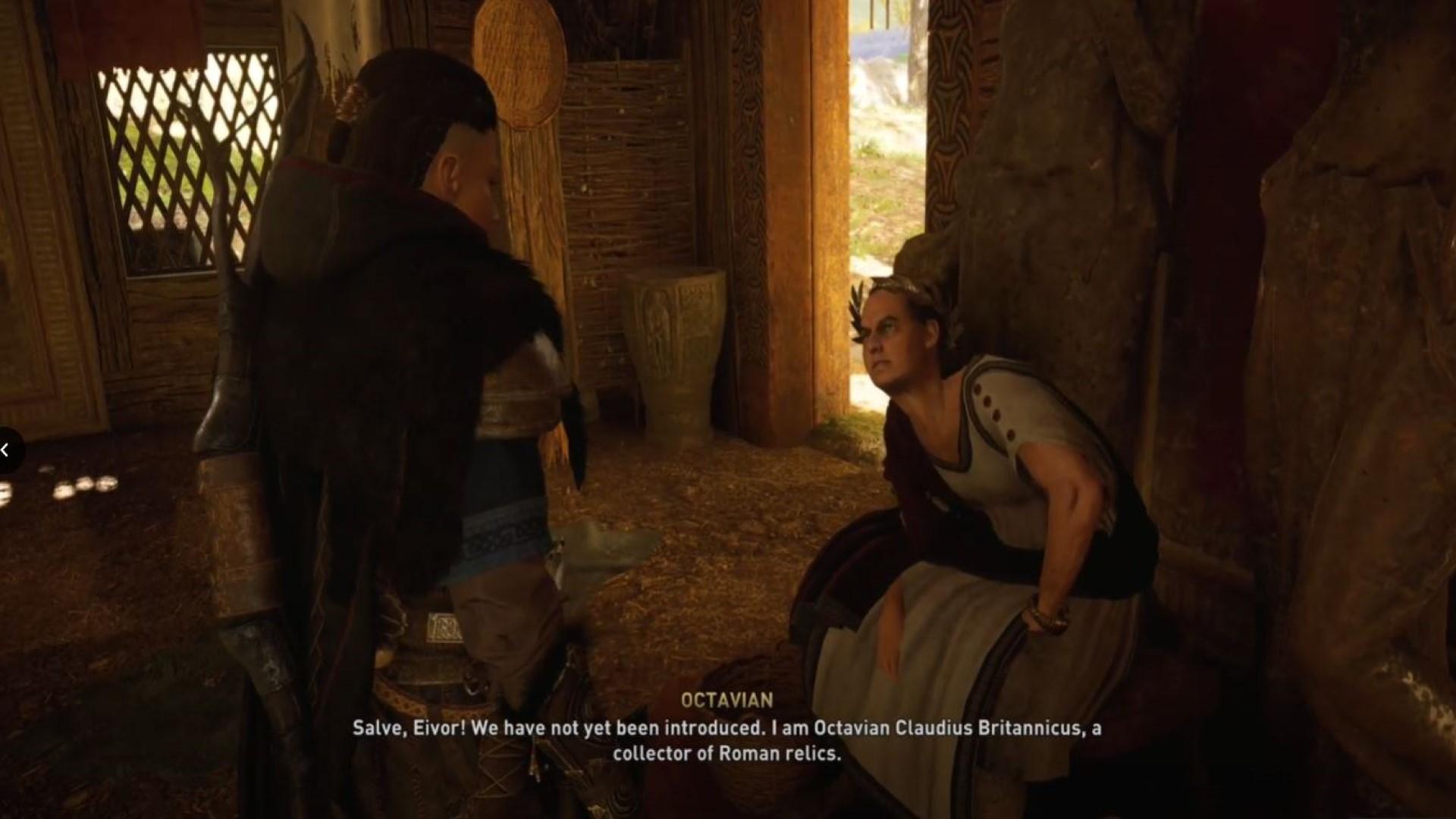 Eivor meets Octavian in his Roman museum of sorts.