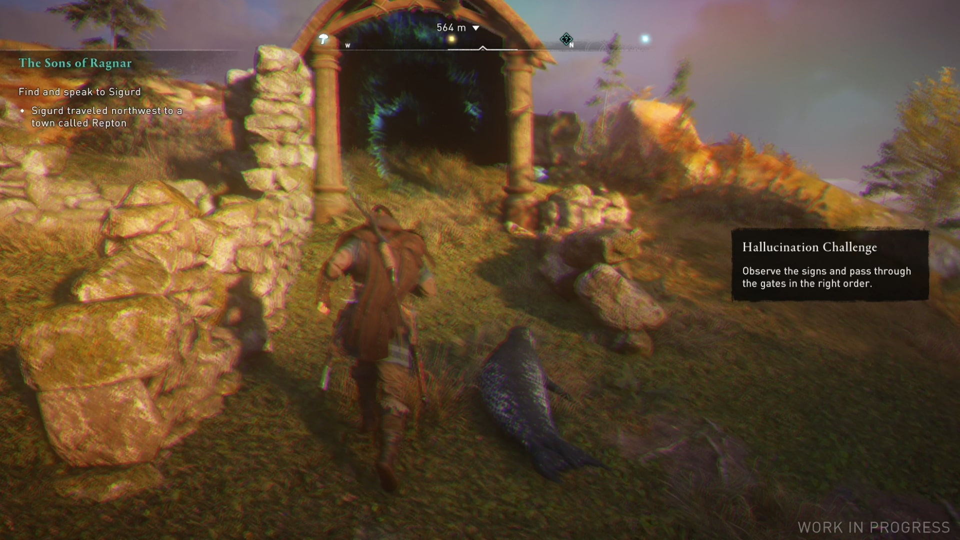 A screenshot showing Eivor following a seal towards a gate in the bizarre hallucinatory challenge.