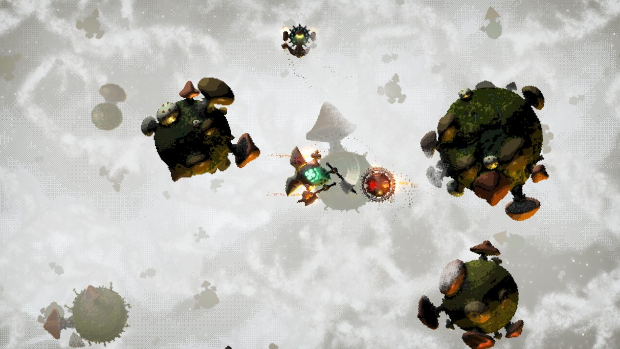 A screenshot of a dogfight in Fabular: Once Upon A Spacetime. A small spaceship that looks a bit like a beetle is attacking a mine with a pair of axes. Around it, small circular planetoids covered in mushrooms are floating about.