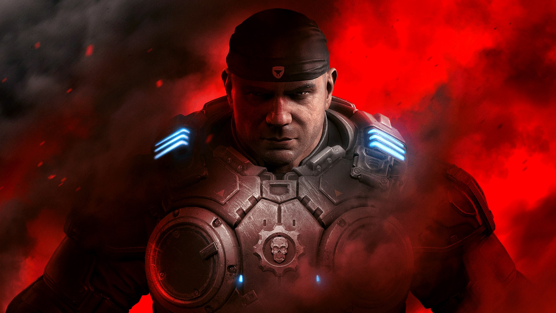 Dave Batista as Marcus Fenix in Gears 5, weirdly.