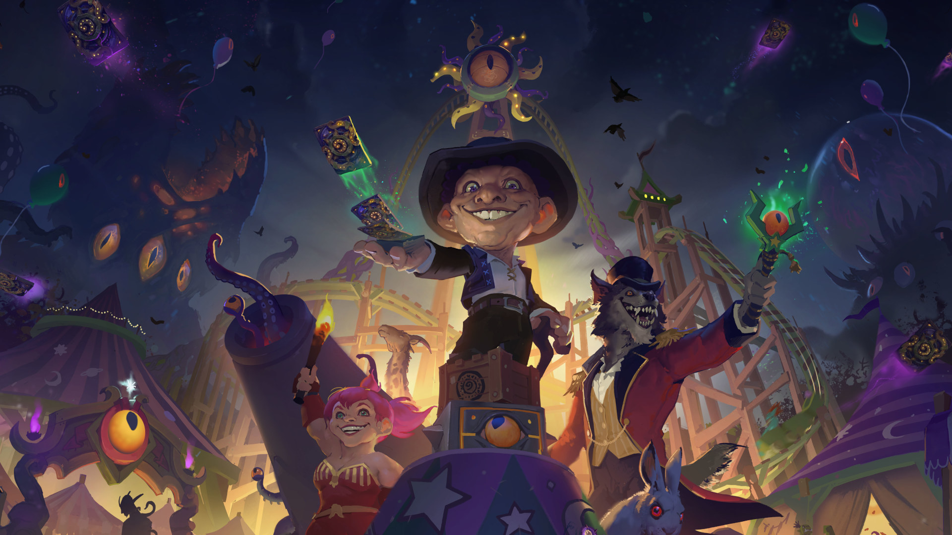 A spooky carnival in art for Hearthstone's Madness At The Darkmoon Faire expansion.