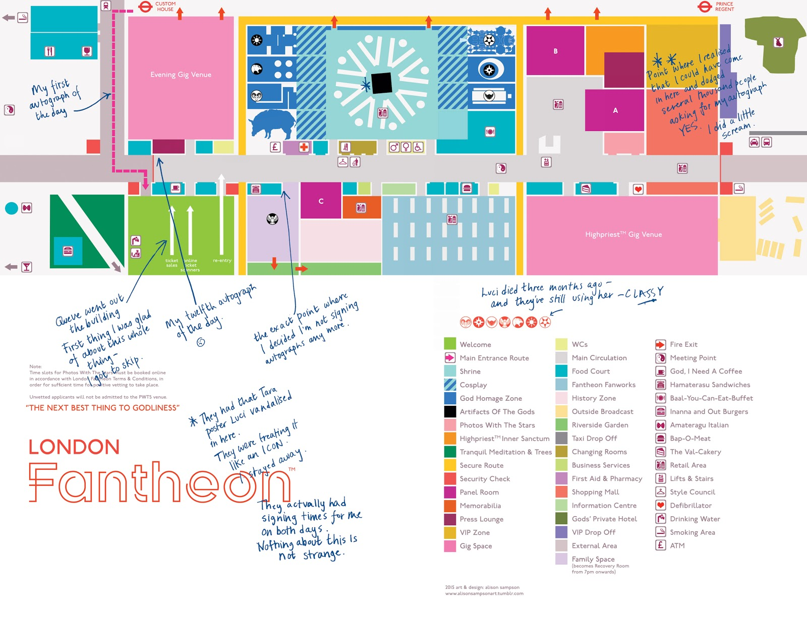 A panel from The Wicked + The Divine showing the floor plan of the London Fantheon, a convention for fans of the Pantheon. It has been annotated by one of the characters.
