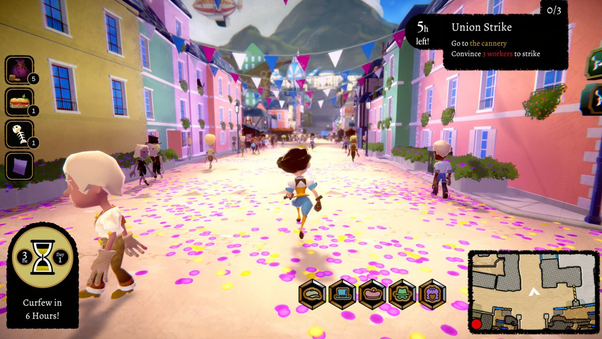A screenshot showing the street in Mesmer, in 3D and third person. The camera is behind the protagonist who is a woman in blue shorts and a white shirt with a brown bob of hair. She runs down a very colourful street, the floor scattered with pink and yellow petals, the houses each a different colour, their rooftops strung with bunting. She is off to convince three cannery workers to join the union strike.