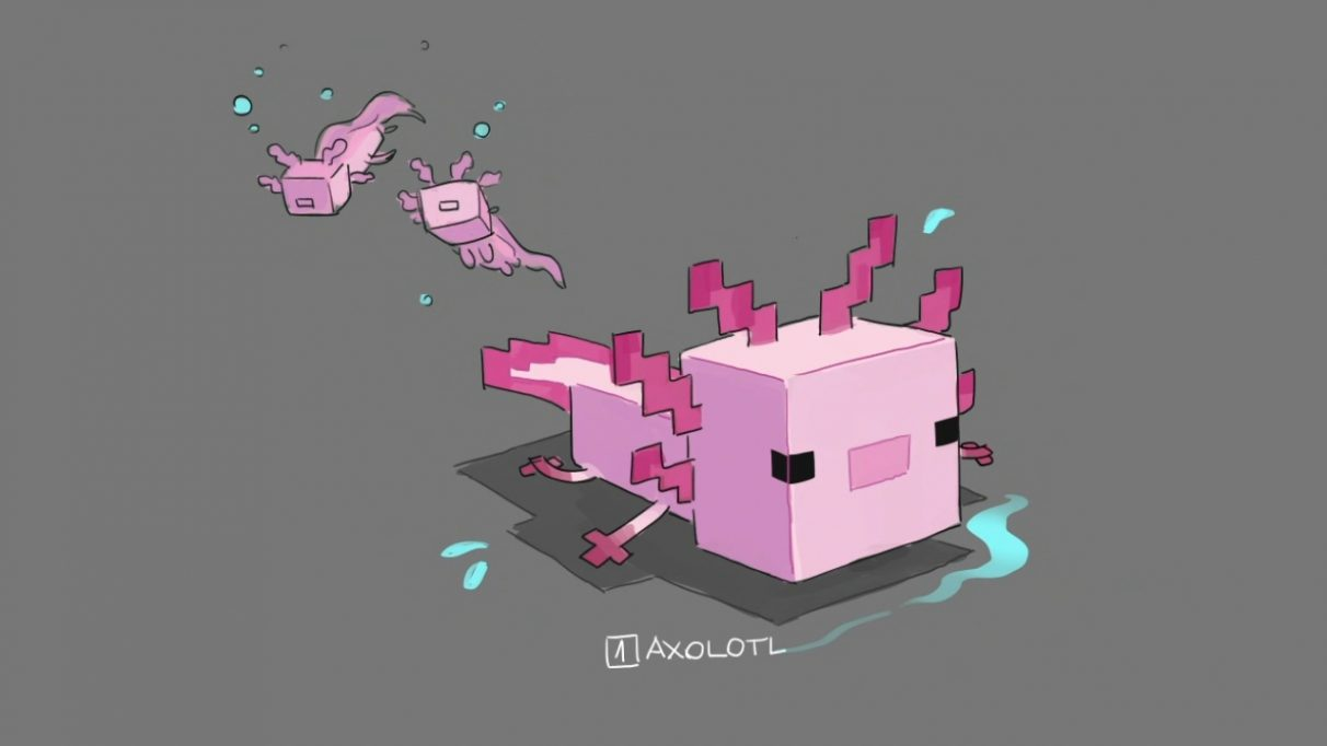 A cute, blocky axolotl.