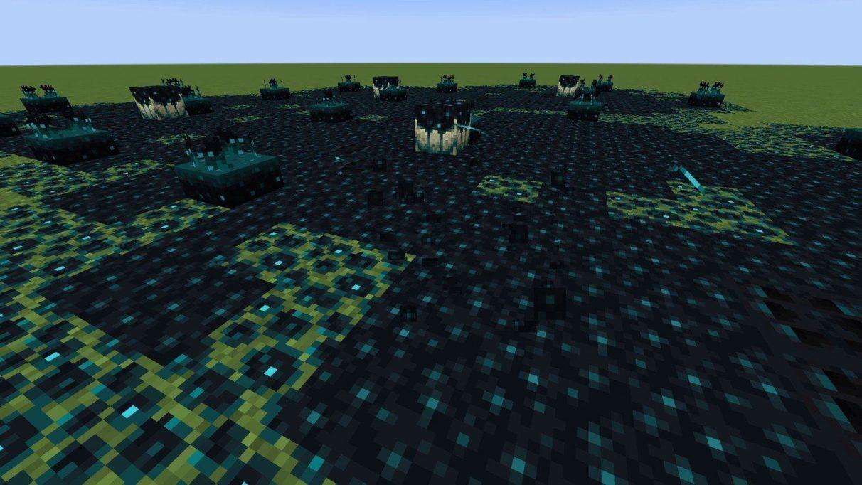 A field of mucky, blue-black sculk.