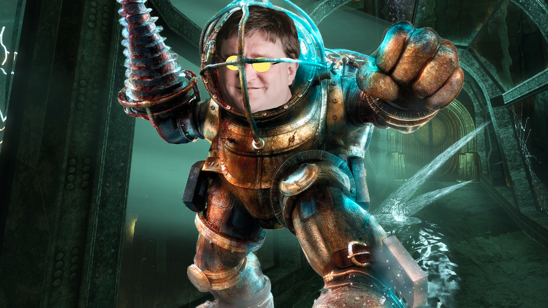 A Big Daddy from BioShock, but with the face of Valve president Gabe Newell
