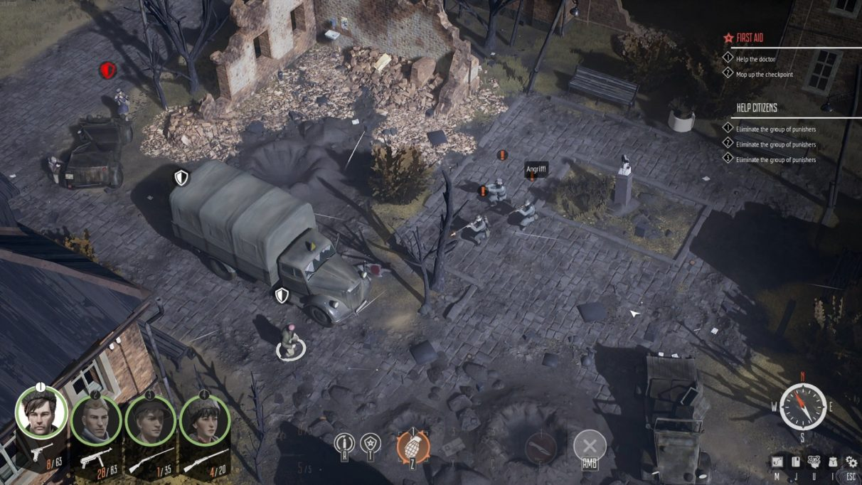 Some angry Wermecht shoot their rifles at a partisan taking cover behind a truck