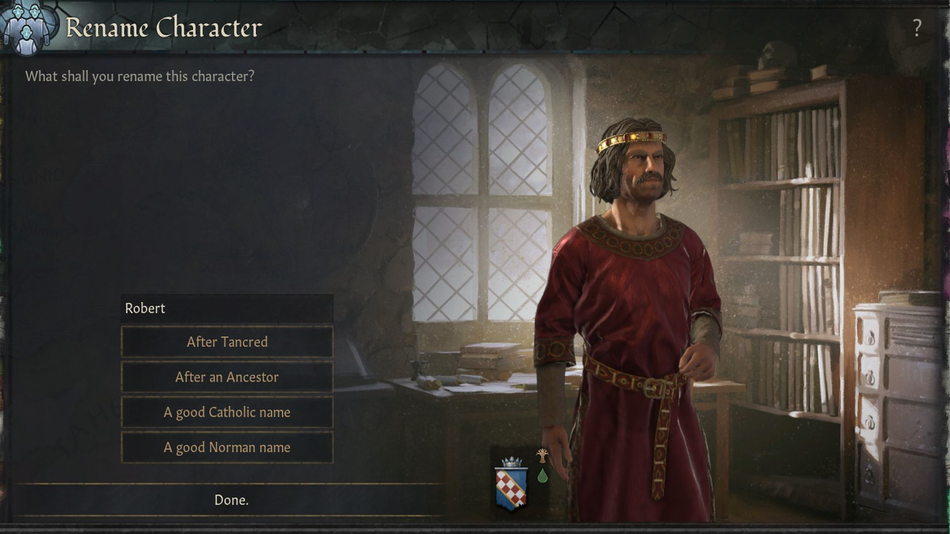 A Crusader Kings 3 screenshot, with a new character renaming menu