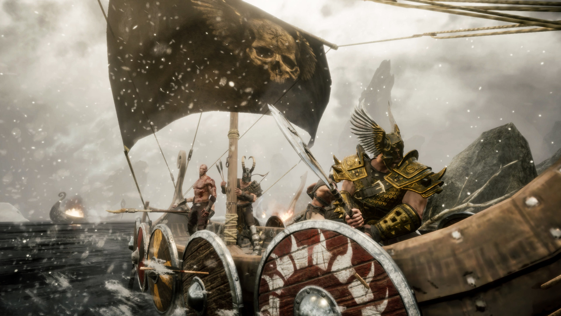 Vikings out sailing their boat in Rune II: Decapitation Edition.