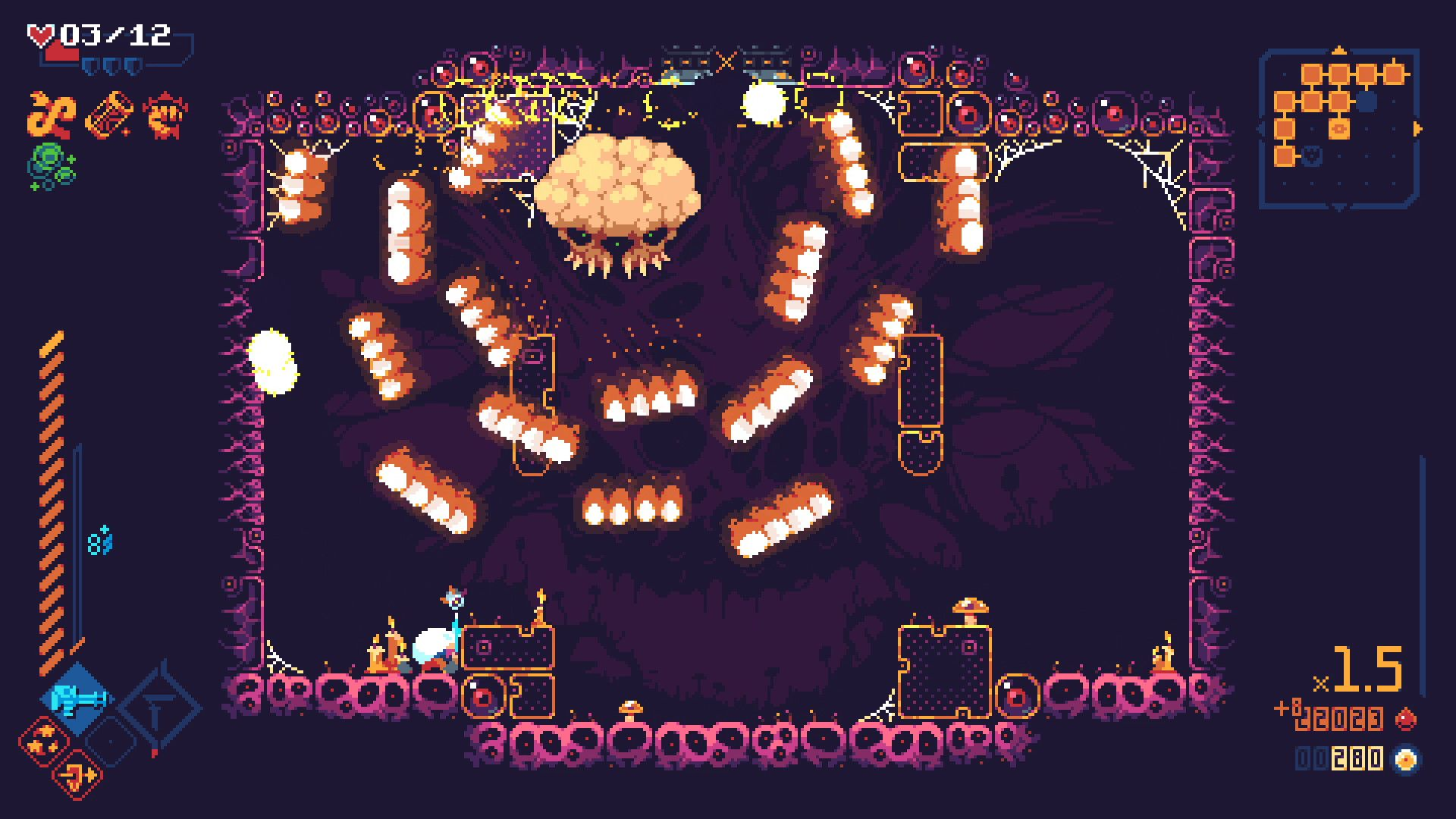 A screenshot of a dungeon room in ScourgeBringer, where a boss enemy resembling a cross between a jellyfish and an angry piece of popcorn is floating near the ceiling and spitting out waves of fireballs.