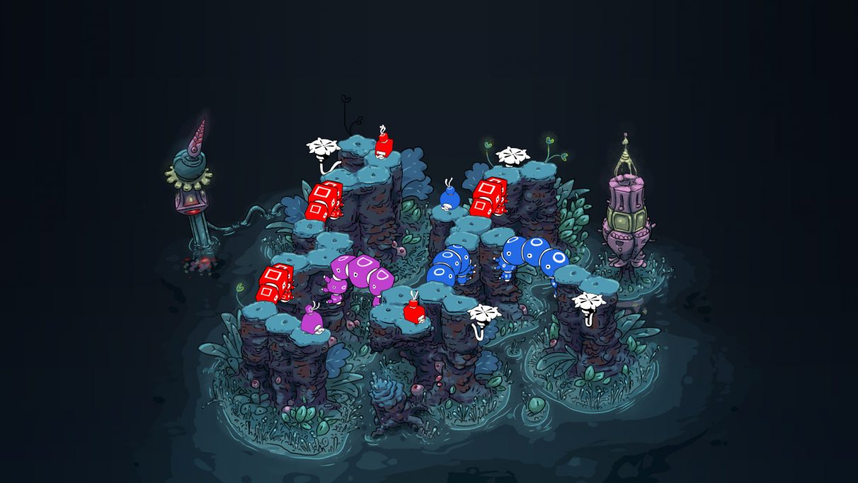 A screenshot of a puzzle in She Remembered Caterpillars, with a red square spore, a blue circle one and a purple bucket shaped one at different points on a connected series of raised rocky cliff paths. They're connected by strange caterpillar bridges of the same colours.