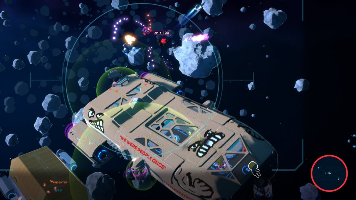 A flesh-coloured spaceship zooms through an asteroid field pursued by alien fighters. It has a growling face painted on the front, and a smaller face, possibly even more angry, glaring up from above the starboard engine at the back.