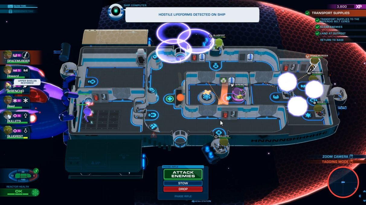 Top-down view of the ship's layout: some purple aliens are sneaking aboard in the bottom left, and the captain is running from the bridge to shoot them.